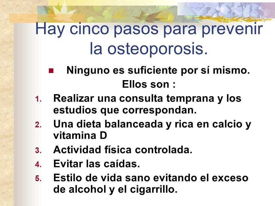 Hay cinco pasos para prevenir la osteoporosis. Ninguno es suficiente por sí mismo. Ellos son : 1. Realizar una consulta temprana y los estudios que co