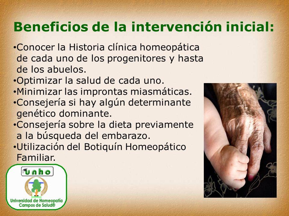 Beneficios de la intervención inicial: Conocer la Historia clínica homeopática de cada uno de los progenitores y hasta de los abuelos.