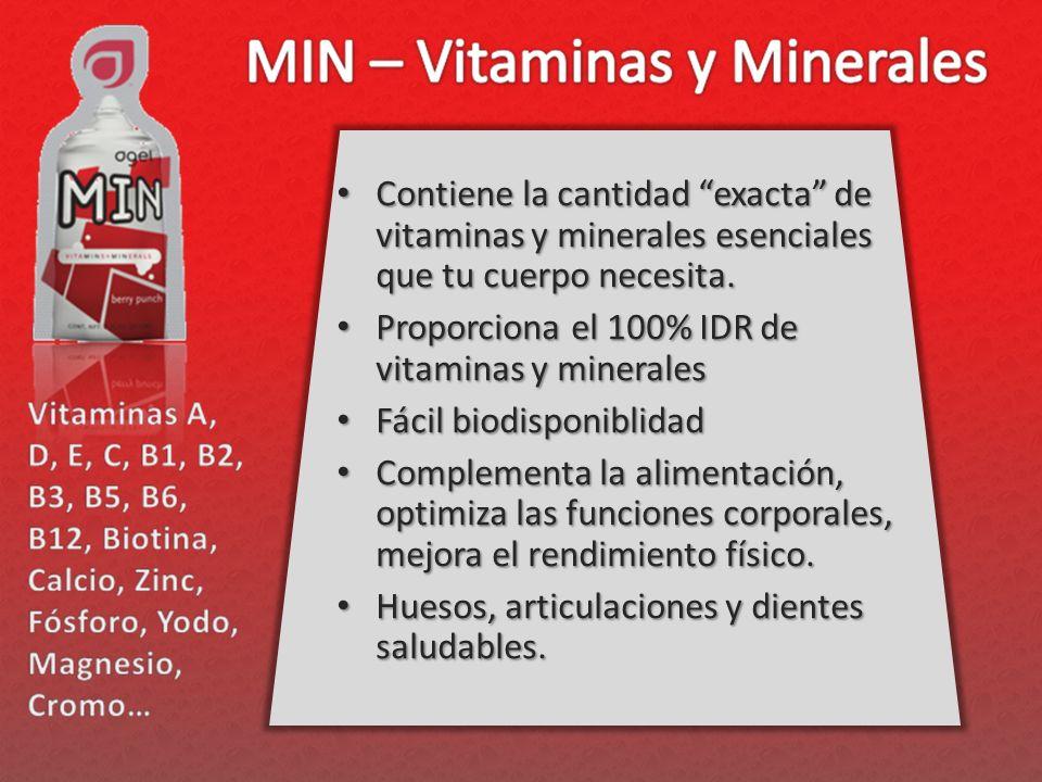 Contiene la cantidad exacta de vitaminas y minerales esenciales que tu cuerpo necesita. Contiene la cantidad exacta de vitaminas y minerales esenciale