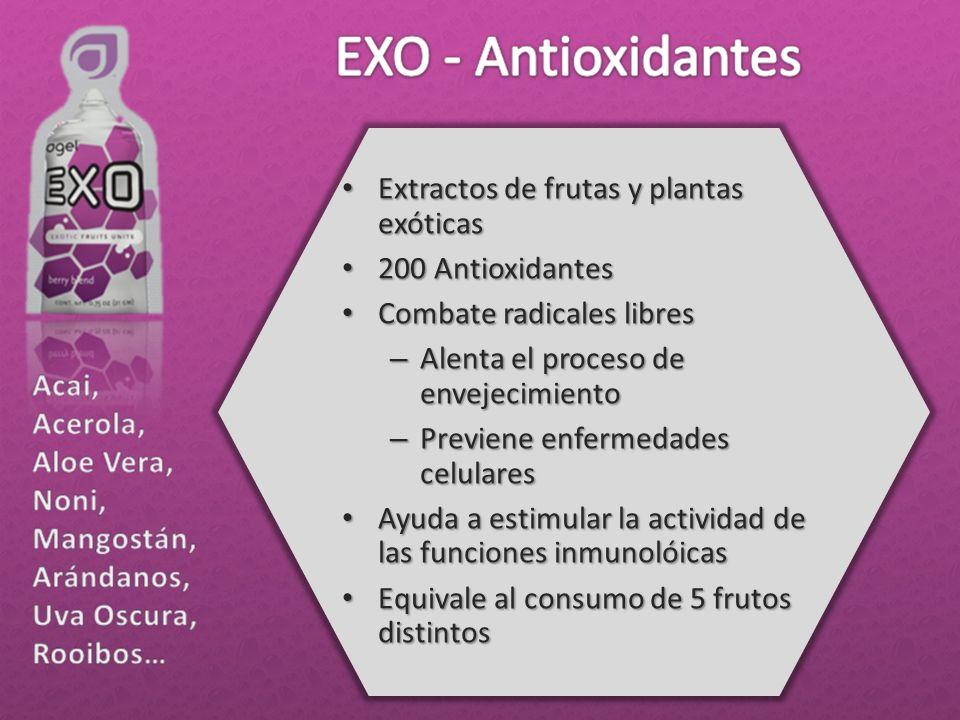 Extractos de frutas y plantas exóticas Extractos de frutas y plantas exóticas 200 Antioxidantes 200 Antioxidantes Combate radicales libres Combate rad