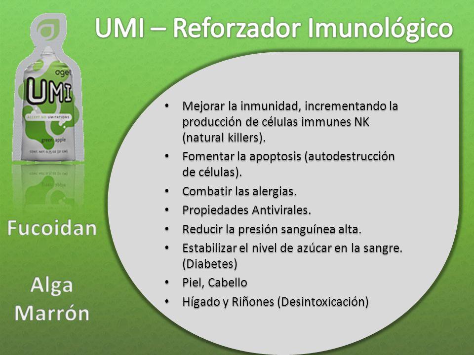 Mejorar la inmunidad, incrementando la producción de células immunes NK (natural killers). Mejorar la inmunidad, incrementando la producción de célula