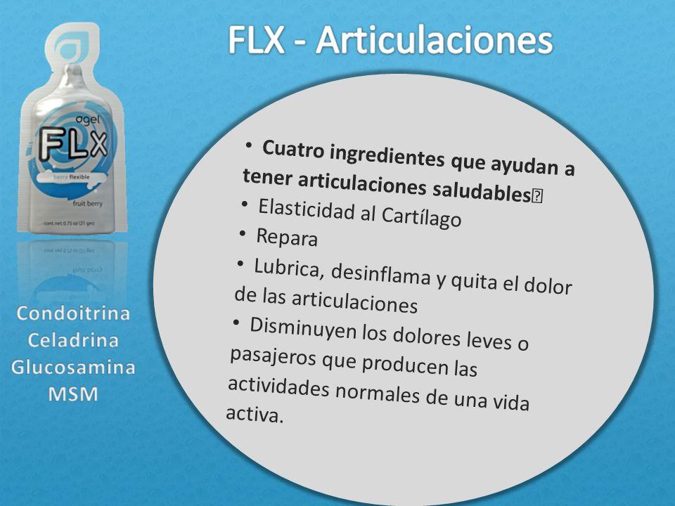 Cuatro ingredientes que ayudan a tener articulaciones saludables Elasticidad al Cartílago Repara Lubrica, desinflama y quita el dolor de las articulac