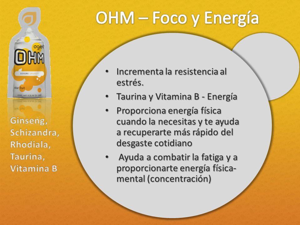 Incrementa la resistencia al estrés. Incrementa la resistencia al estrés. Taurina y Vitamina B - Energía Taurina y Vitamina B - Energía Proporciona en