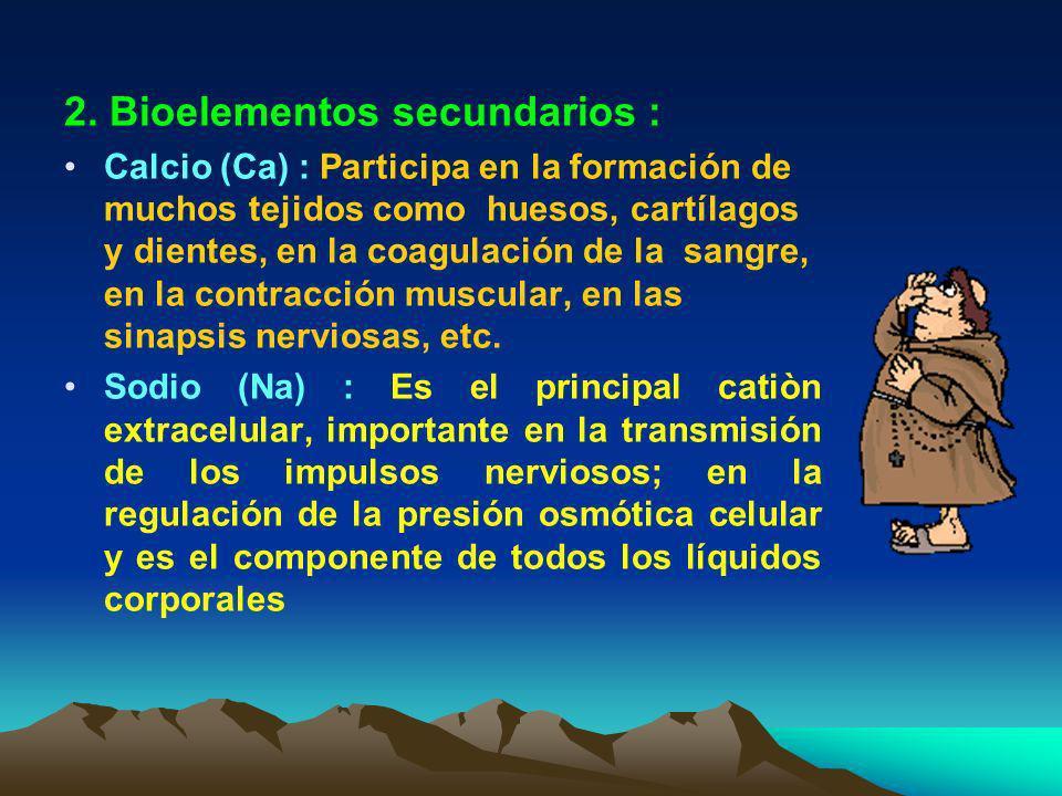 Hidrógeno (H) : Bioelemento más pequeño de todos. Responsable de la concentración de acidez de un medio (pH) Participa con el Oxígeno en los procesos
