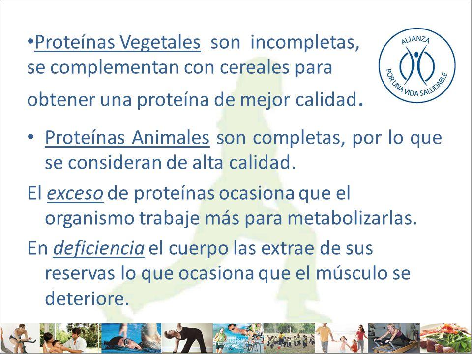 Proteínas Vegetales son incompletas, se complementan con cereales para obtener una proteína de mejor calidad. Proteínas Animales son completas, por lo