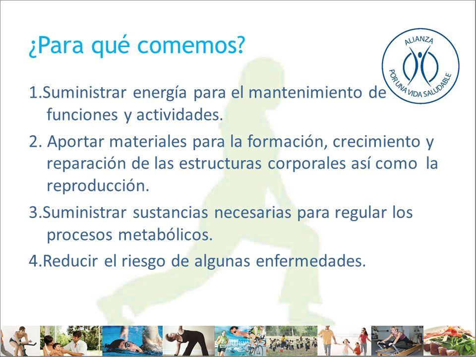 ¿Para qué comemos? 1.Suministrar energía para el mantenimiento de funciones y actividades. 2. Aportar materiales para la formación, crecimiento y repa