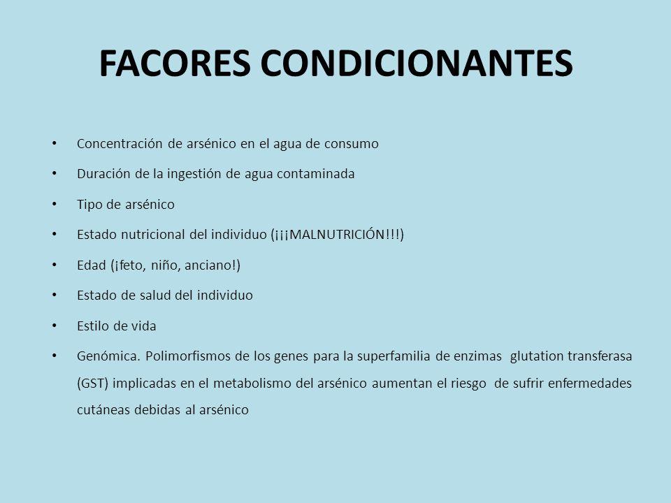 FACORES CONDICIONANTES Concentración de arsénico en el agua de consumo Duración de la ingestión de agua contaminada Tipo de arsénico Estado nutriciona