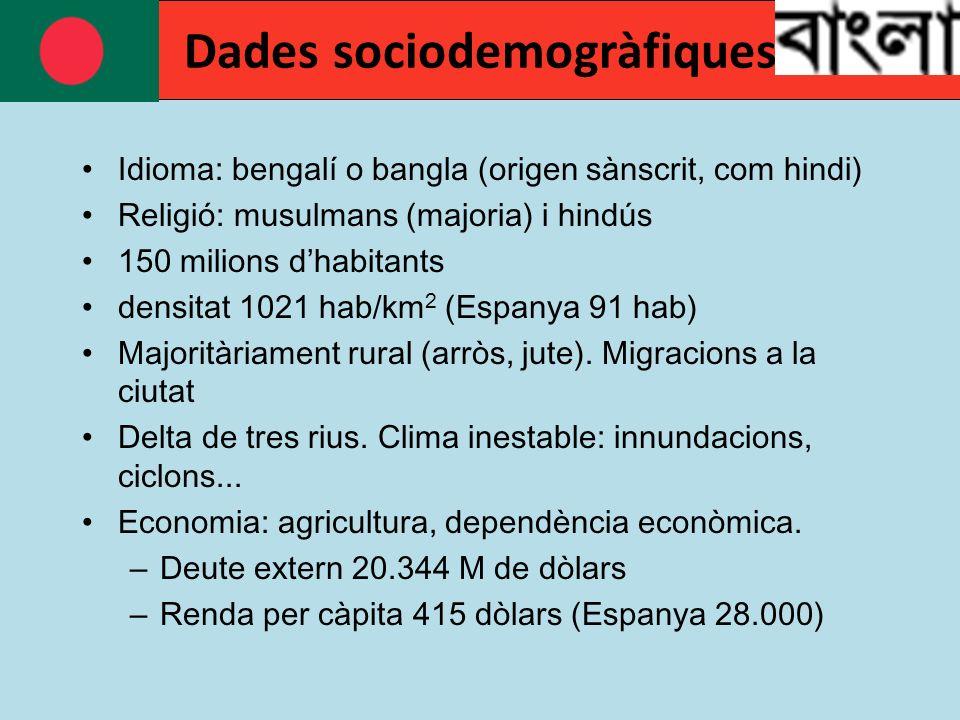 Idioma: bengalí o bangla (origen sànscrit, com hindi) Religió: musulmans (majoria) i hindús 150 milions dhabitants densitat 1021 hab/km 2 (Espanya 91