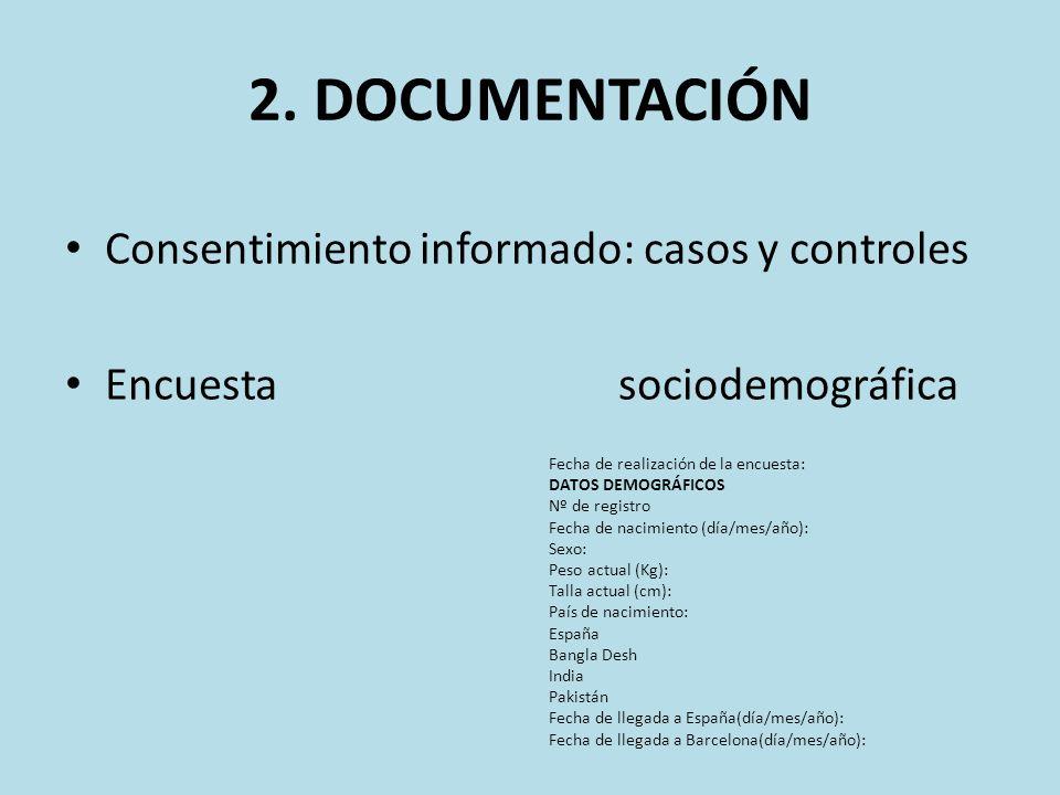 2. DOCUMENTACIÓN Consentimiento informado: casos y controles Encuesta sociodemográfica Fecha de realización de la encuesta: DATOS DEMOGRÁFICOS Nº de r