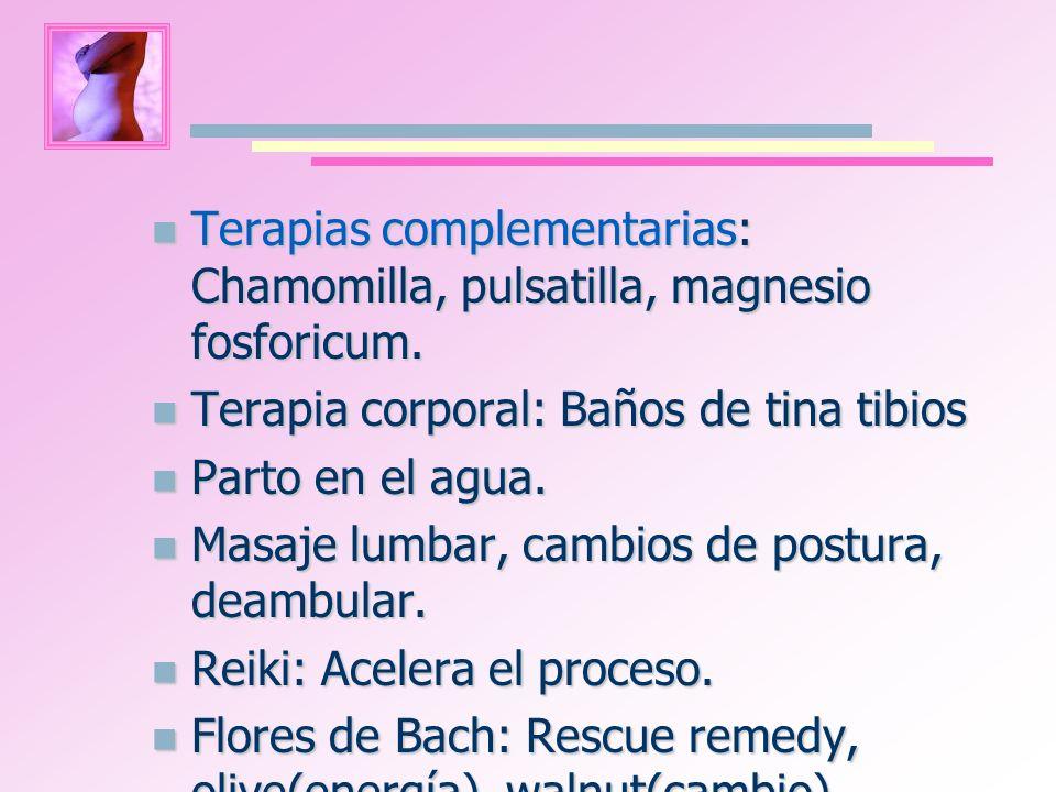 Terapias complementarias: Chamomilla, pulsatilla, magnesio fosforicum. Terapias complementarias: Chamomilla, pulsatilla, magnesio fosforicum. Terapia