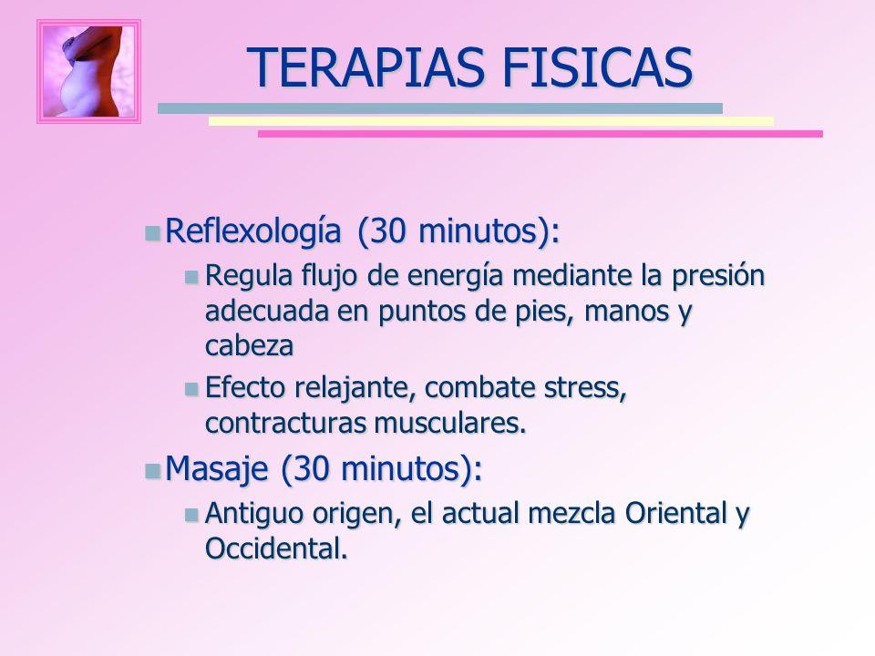 Reflexología (30 minutos): Reflexología (30 minutos): Regula flujo de energía mediante la presión adecuada en puntos de pies, manos y cabeza Regula fl