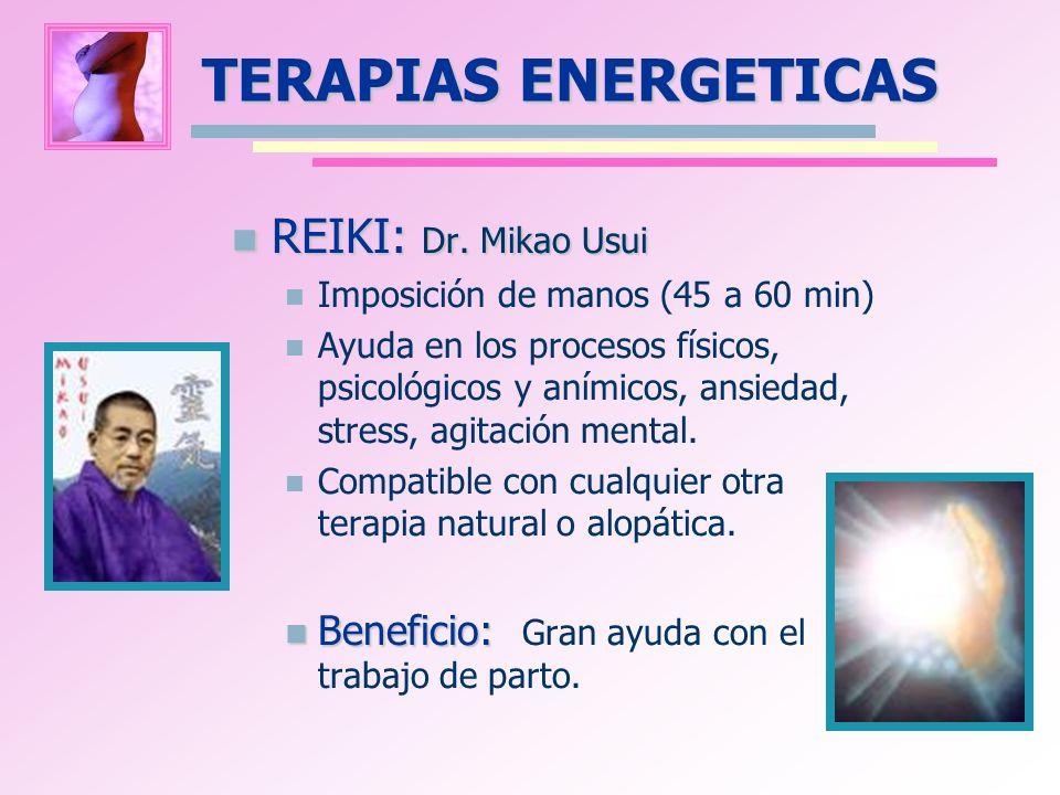 REIKI: Dr. Mikao Usui REIKI: Dr. Mikao Usui Imposición de manos (45 a 60 min) Ayuda en los procesos físicos, psicológicos y anímicos, ansiedad, stress