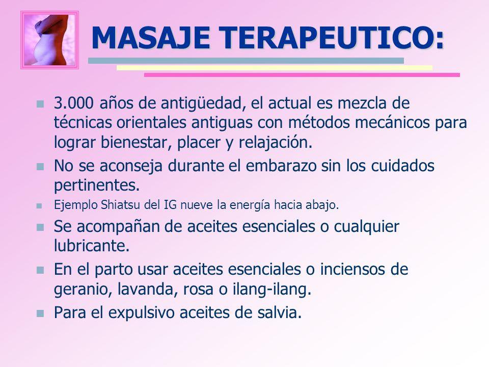 MASAJE TERAPEUTICO: 3.000 años de antigüedad, el actual es mezcla de técnicas orientales antiguas con métodos mecánicos para lograr bienestar, placer