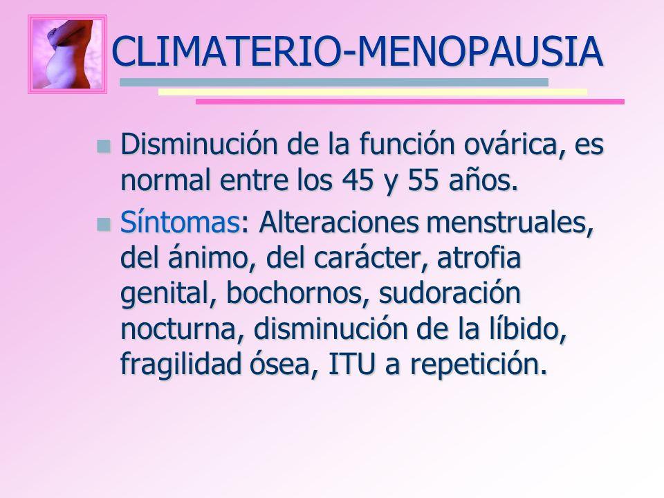 CLIMATERIO-MENOPAUSIA Disminución de la función ovárica, es normal entre los 45 y 55 años. Disminución de la función ovárica, es normal entre los 45 y