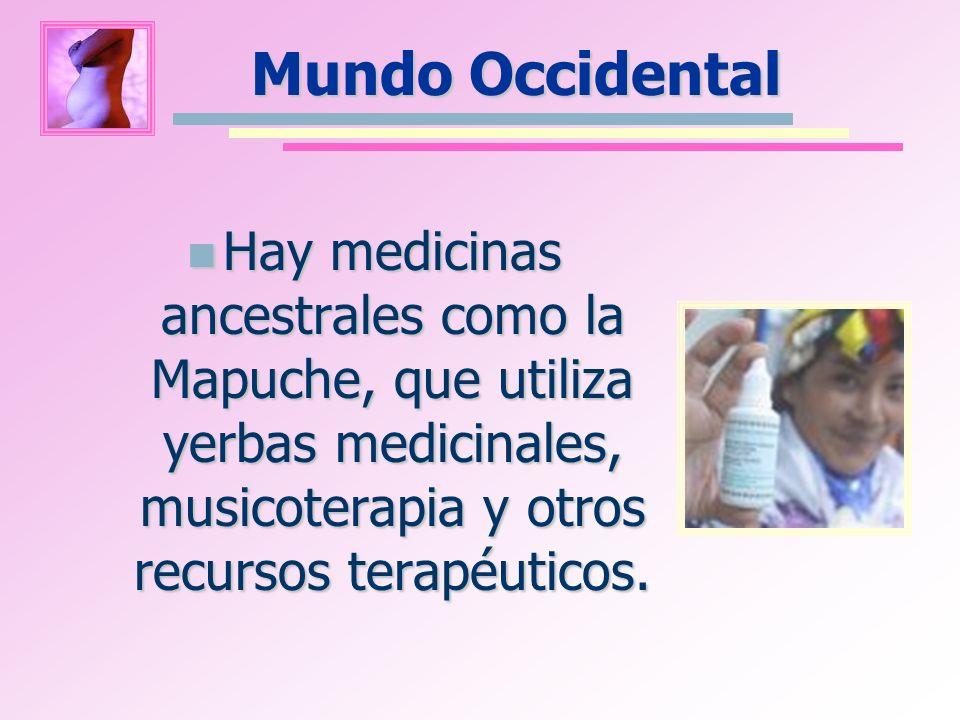 Mundo Occidental Hay medicinas ancestrales como la Mapuche, que utiliza yerbas medicinales, musicoterapia y otros recursos terapéuticos. Hay medicinas