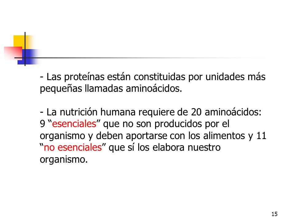 15 - Las proteínas están constituidas por unidades más pequeñas llamadas aminoácidos. - La nutrición humana requiere de 20 aminoácidos: 9 esenciales q