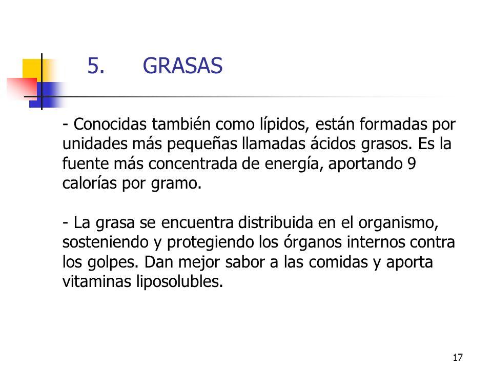 17 - Conocidas también como lípidos, están formadas por unidades más pequeñas llamadas ácidos grasos. Es la fuente más concentrada de energía, aportan