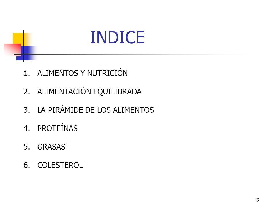2 INDICE 1.ALIMENTOS Y NUTRICIÓN 2.ALIMENTACIÓN EQUILIBRADA 3.LA PIRÁMIDE DE LOS ALIMENTOS 4.PROTEÍNAS 5.GRASAS 6.COLESTEROL Índice