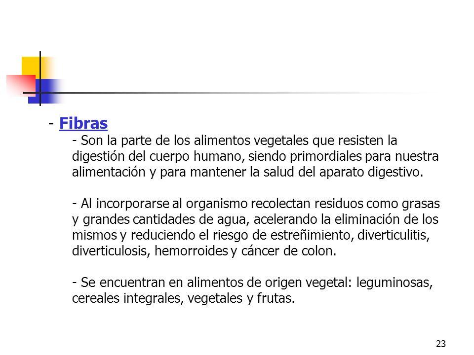 23 - Fibras - Son la parte de los alimentos vegetales que resisten la digestión del cuerpo humano, siendo primordiales para nuestra alimentación y par