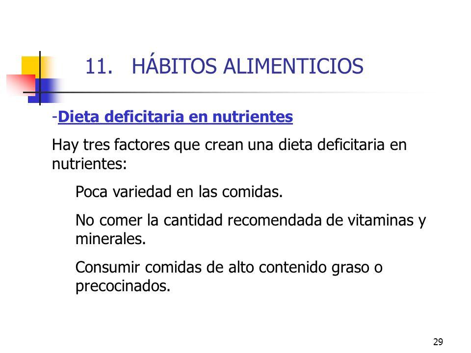 29 -Dieta deficitaria en nutrientes Hay tres factores que crean una dieta deficitaria en nutrientes: Poca variedad en las comidas. No comer la cantida