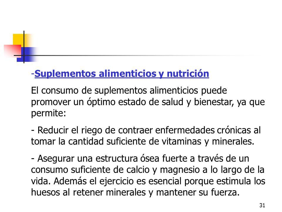 31 -Suplementos alimenticios y nutrición El consumo de suplementos alimenticios puede promover un óptimo estado de salud y bienestar, ya que permite: