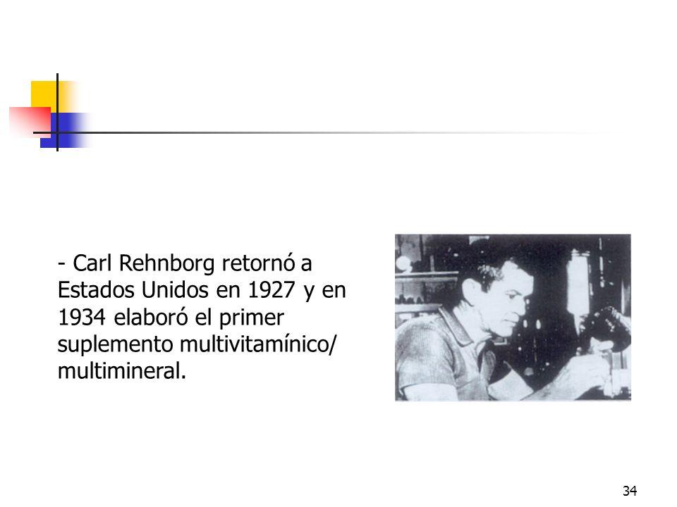 34 - Carl Rehnborg retornó a Estados Unidos en 1927 y en 1934 elaboró el primer suplemento multivitamínico/ multimineral. Carl Rehnborg