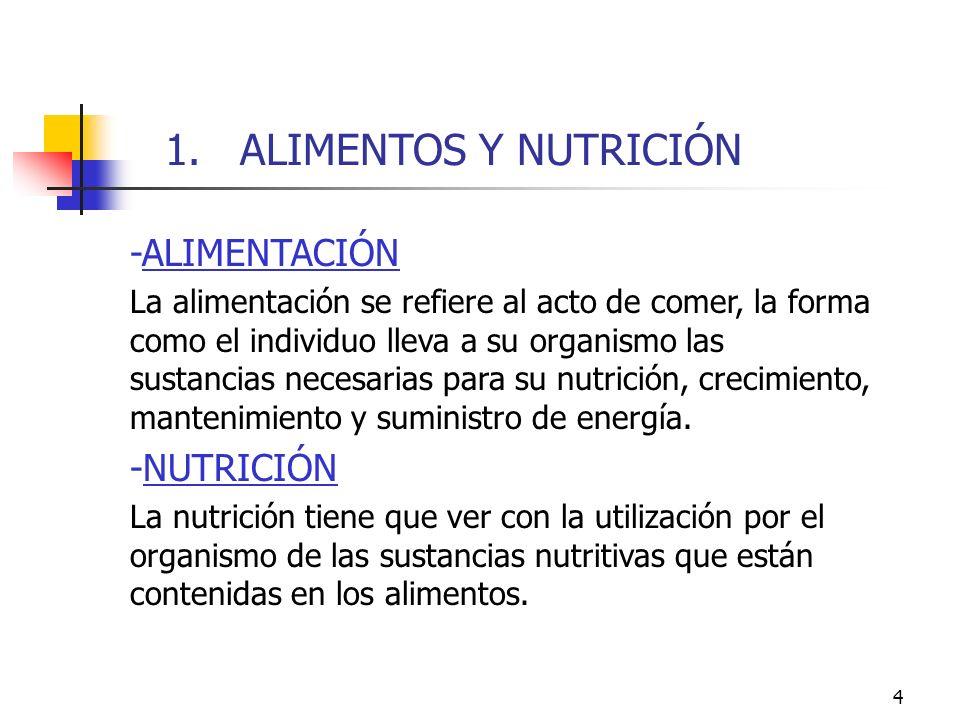 4 -ALIMENTACIÓN La alimentación se refiere al acto de comer, la forma como el individuo lleva a su organismo las sustancias necesarias para su nutrici