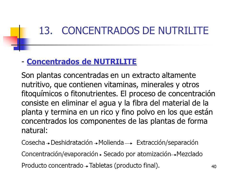 40 - Concentrados de NUTRILITE Son plantas concentradas en un extracto altamente nutritivo, que contienen vitaminas, minerales y otros fitoquímicos o