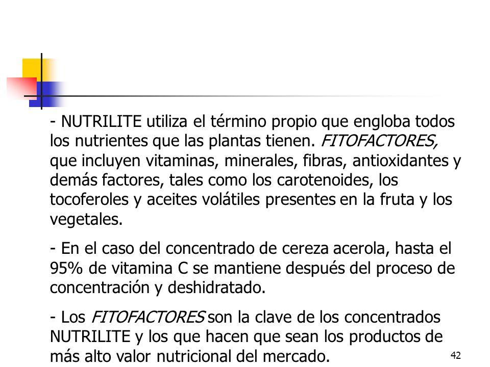 42 - NUTRILITE utiliza el término propio que engloba todos los nutrientes que las plantas tienen. FITOFACTORES, que incluyen vitaminas, minerales, fib