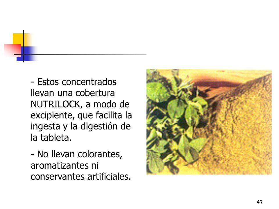 43 - Estos concentrados llevan una cobertura NUTRILOCK, a modo de excipiente, que facilita la ingesta y la digestión de la tableta. - No llevan colora