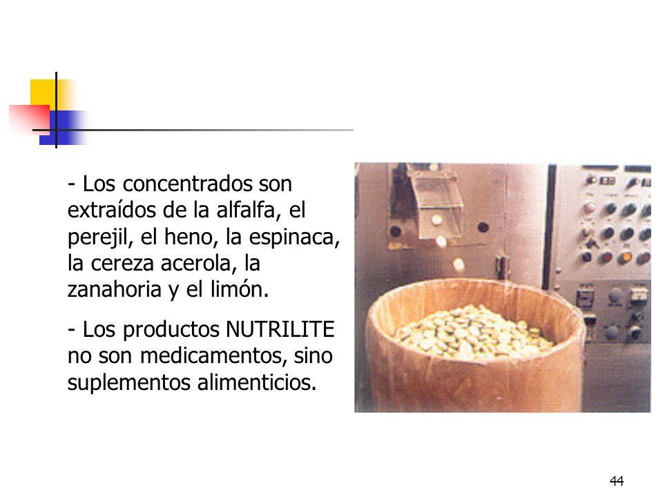 44 - Los concentrados son extraídos de la alfalfa, el perejil, el heno, la espinaca, la cereza acerola, la zanahoria y el limón. - Los productos NUTRI