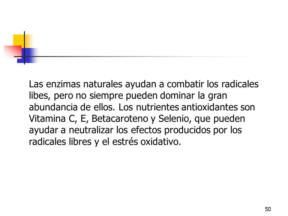 50 Las enzimas naturales ayudan a combatir los radicales libes, pero no siempre pueden dominar la gran abundancia de ellos. Los nutrientes antioxidant