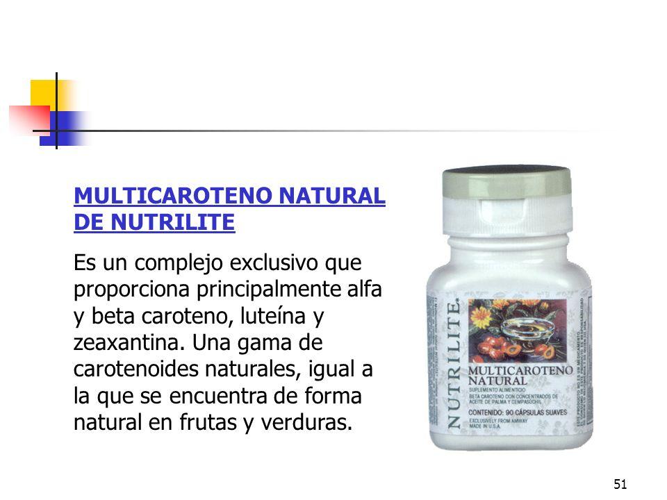 51 MULTICAROTENO NATURAL DE NUTRILITE Es un complejo exclusivo que proporciona principalmente alfa y beta caroteno, luteína y zeaxantina. Una gama de