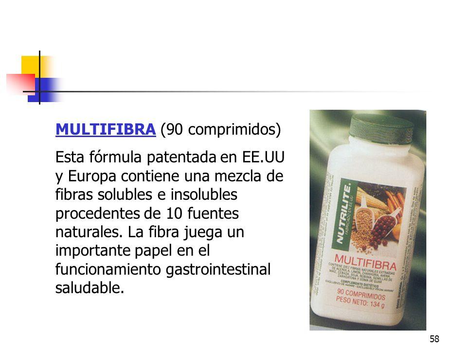 58 MULTIFIBRA (90 comprimidos) Esta fórmula patentada en EE.UU y Europa contiene una mezcla de fibras solubles e insolubles procedentes de 10 fuentes