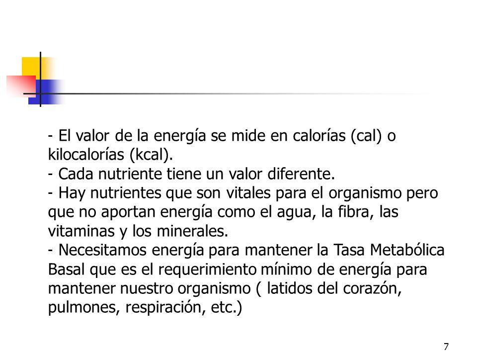 7 - El valor de la energía se mide en calorías (cal) o kilocalorías (kcal). - Cada nutriente tiene un valor diferente. - Hay nutrientes que son vitale