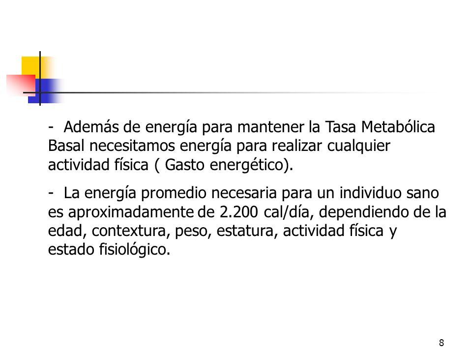 8 - Además de energía para mantener la Tasa Metabólica Basal necesitamos energía para realizar cualquier actividad física ( Gasto energético). - La en