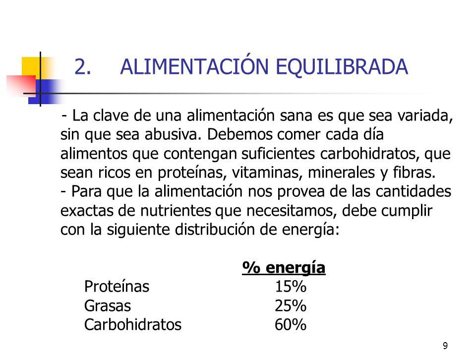 9 2. ALIMENTACIÓN EQUILIBRADA - La clave de una alimentación sana es que sea variada, sin que sea abusiva. Debemos comer cada día alimentos que conten
