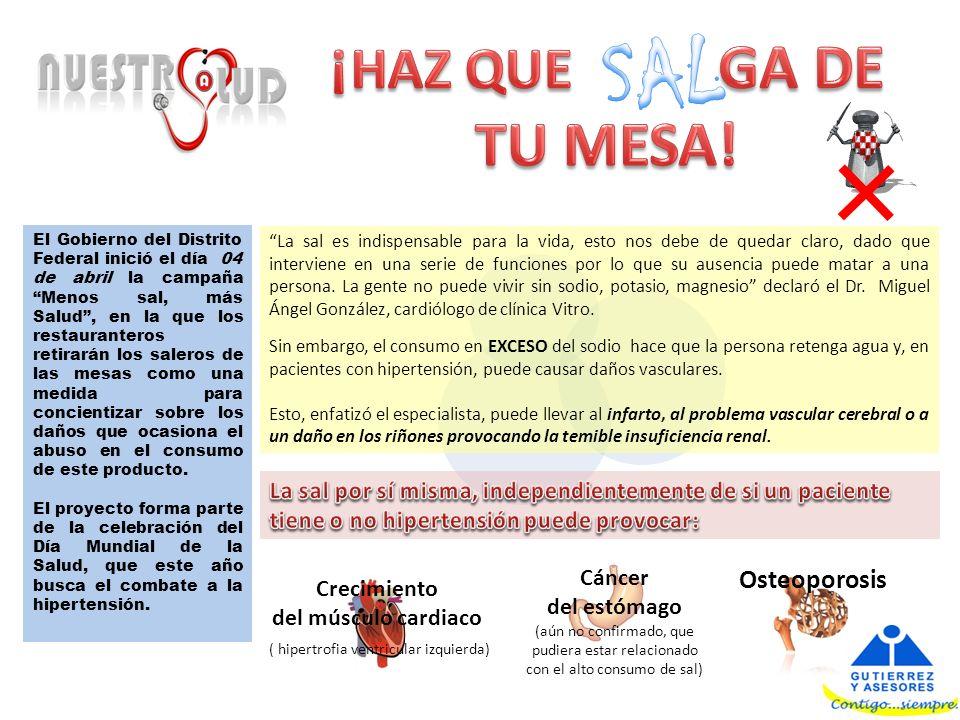 El Gobierno del Distrito Federal inició el día 04 de abril la campaña Menos sal, más Salud, en la que los restauranteros retirarán los saleros de las