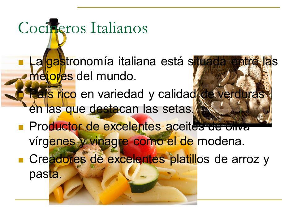Cocineros Italianos La gastronomía italiana está situada entre las mejores del mundo. País rico en variedad y calidad de verduras en las que destacan