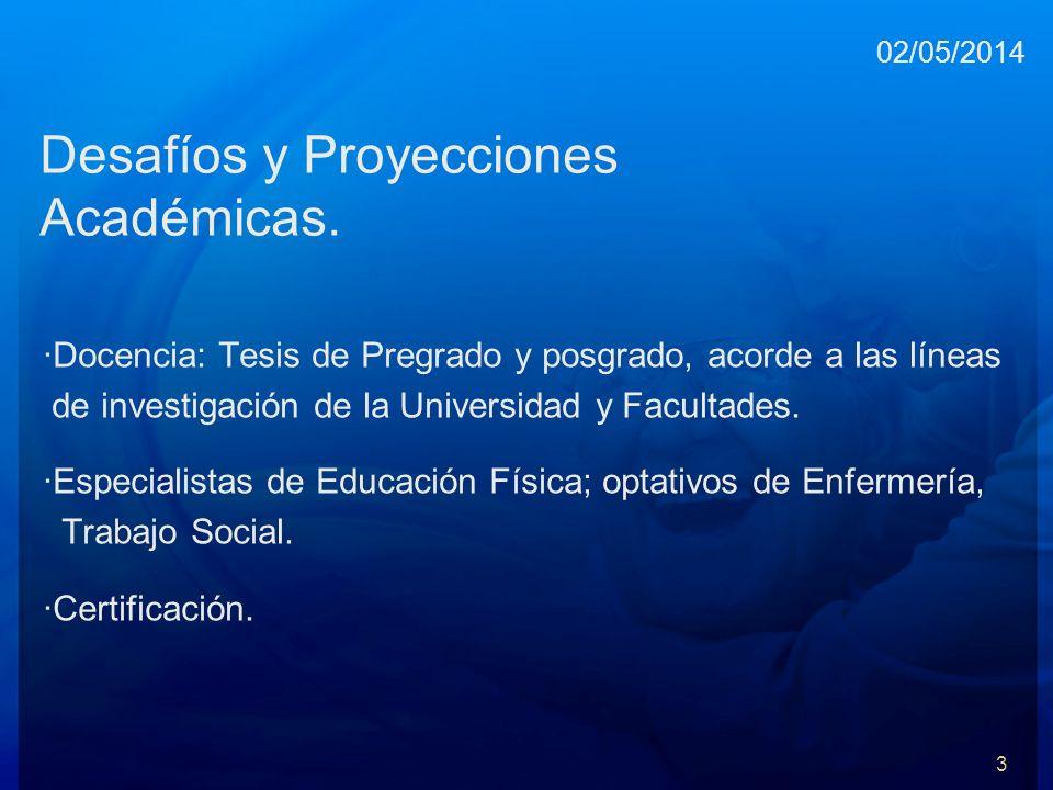Desafíos y Proyecciones Académicas. ·Docencia: Tesis de Pregrado y posgrado, acorde a las líneas de investigación de la Universidad y Facultades. ·Esp