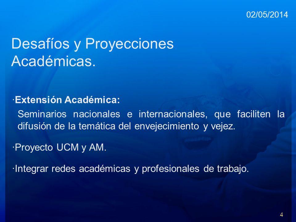 Desafíos y Proyecciones Académicas. ·Extensión Académica: Seminarios nacionales e internacionales, que faciliten la difusión de la temática del enveje