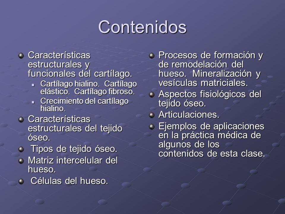 Contenidos Características estructurales y funcionales del cartílago. Cartílago hialino. Cartílago elástico. Cartílago fibroso. Cartílago hialino. Car