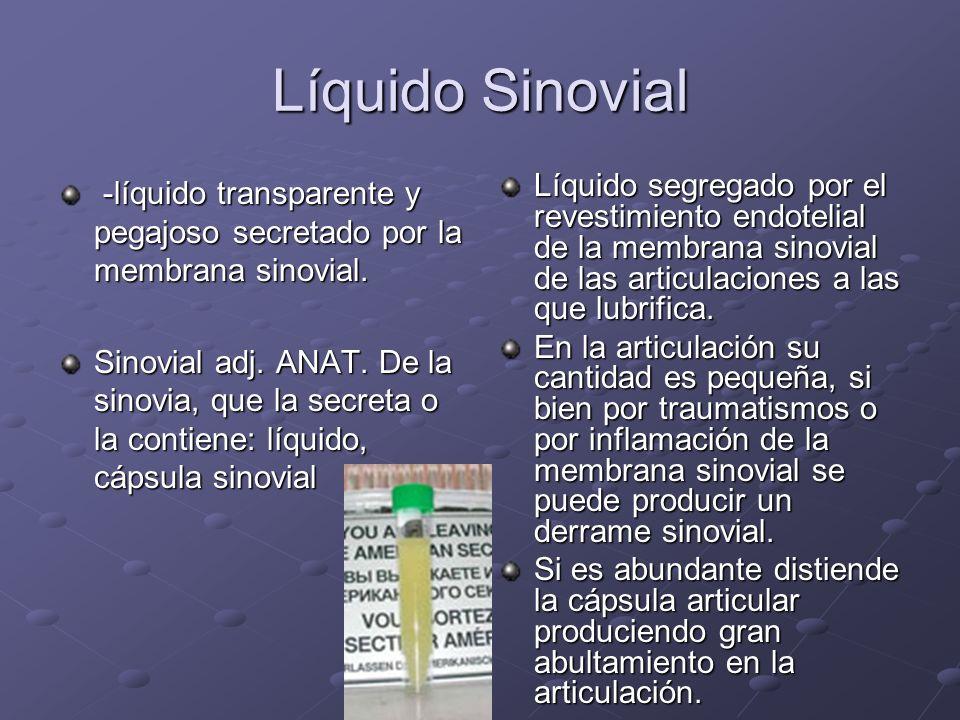 Líquido Sinovial -líquido transparente y pegajoso secretado por la membrana sinovial. -líquido transparente y pegajoso secretado por la membrana sinov