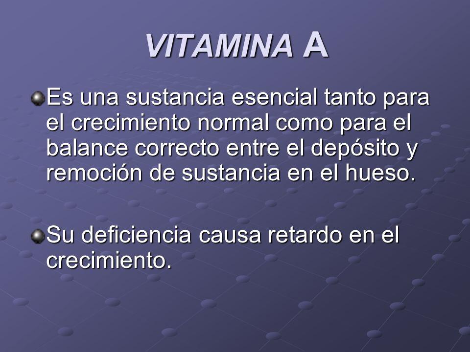 VITAMINA A Es una sustancia esencial tanto para el crecimiento normal como para el balance correcto entre el depósito y remoción de sustancia en el hu