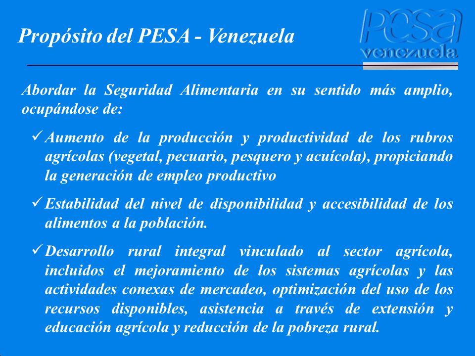 Abordar la Seguridad Alimentaria en su sentido más amplio, ocupándose de: Aumento de la producción y productividad de los rubros agrícolas (vegetal, p