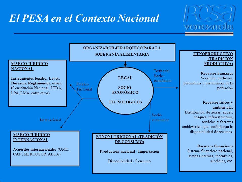 LEGAL SOCIO- ECONÓMICO TECNOLÓGICOS ETNONUTRICIONAL (TRADICIÓN DE CONSUMO) Producción nacional / Importación Disponibilidad / Consumo ETNOPRODUCTIVO (