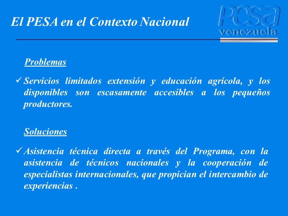 El PESA en el Contexto Nacional Servicios limitados extensión y educación agrícola, y los disponibles son escasamente accesibles a los pequeños produc