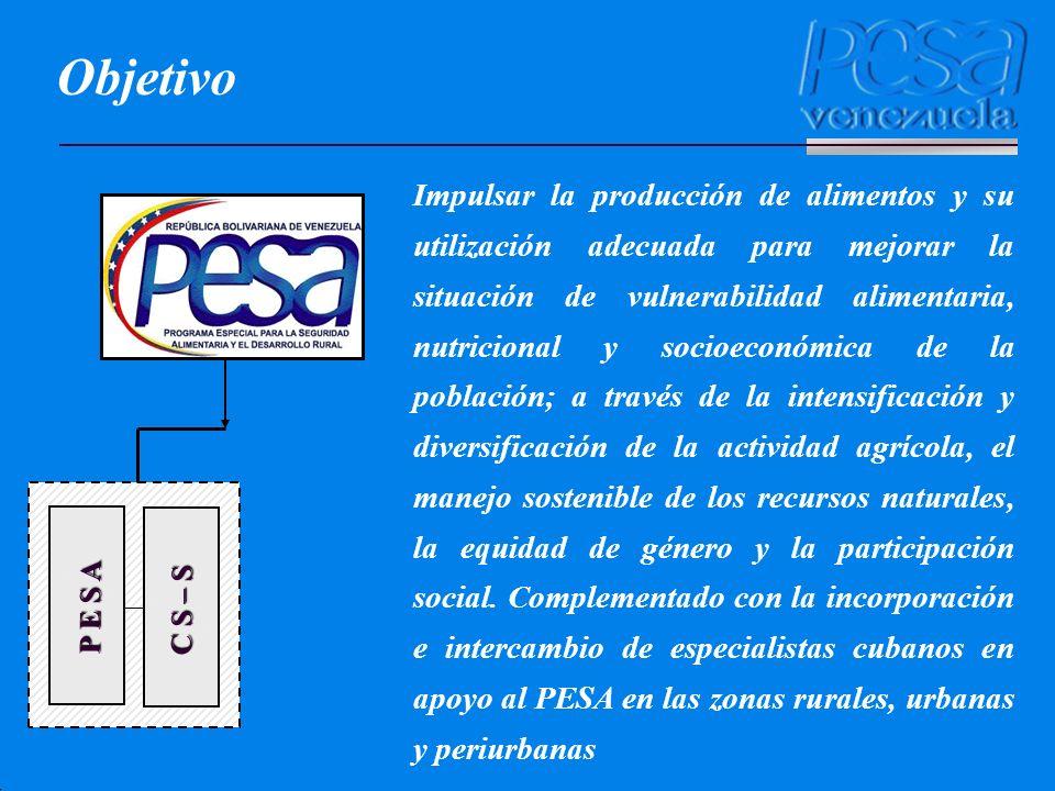 P E S A C S – S Objetivo Impulsar la producción de alimentos y su utilización adecuada para mejorar la situación de vulnerabilidad alimentaria, nutric