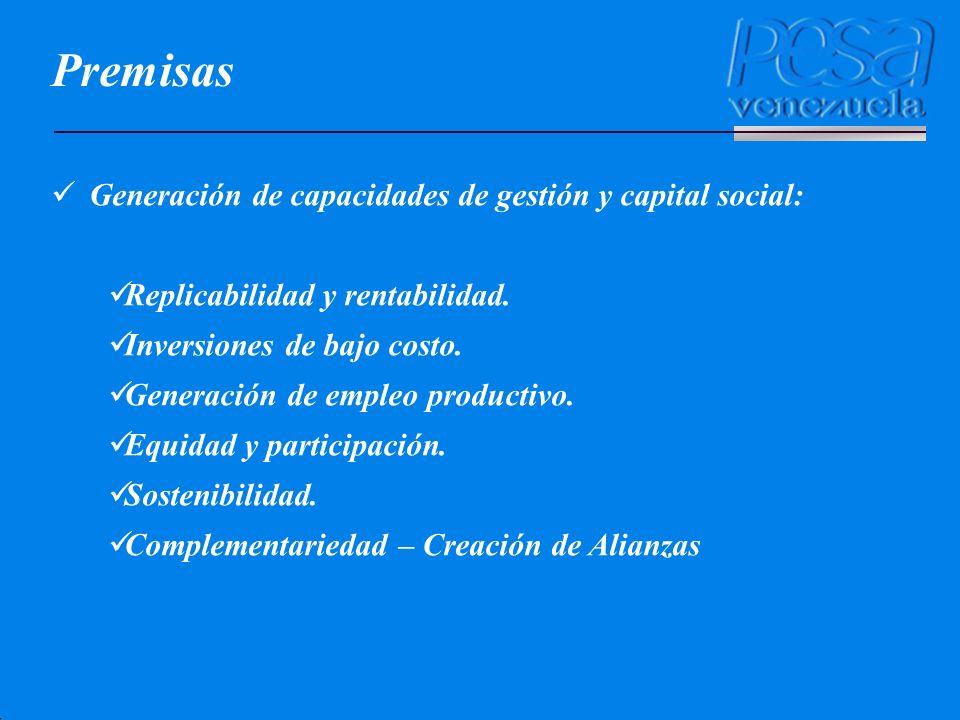 Premisas Generación de capacidades de gestión y capital social: Replicabilidad y rentabilidad. Inversiones de bajo costo. Generación de empleo product