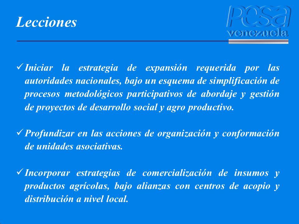 Lecciones Iniciar la estrategia de expansión requerida por las autoridades nacionales, bajo un esquema de simplificación de procesos metodológicos par